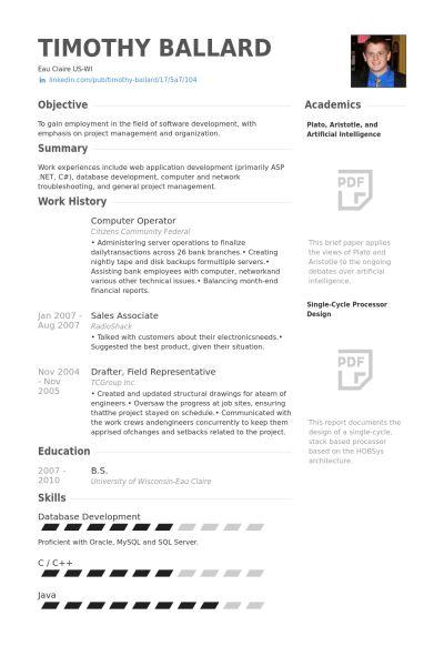 Computer Operator Resume samples - VisualCV resume samples database