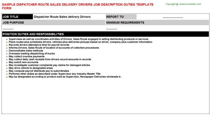 Dispatcher Route Sales Delivery Drivers Job Title Docs
