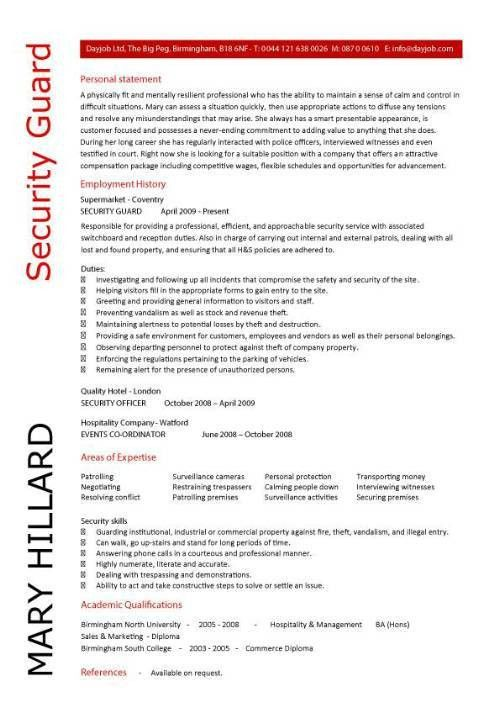 Project Ideas Security Officer Resume Sample 2 Best Professional ...