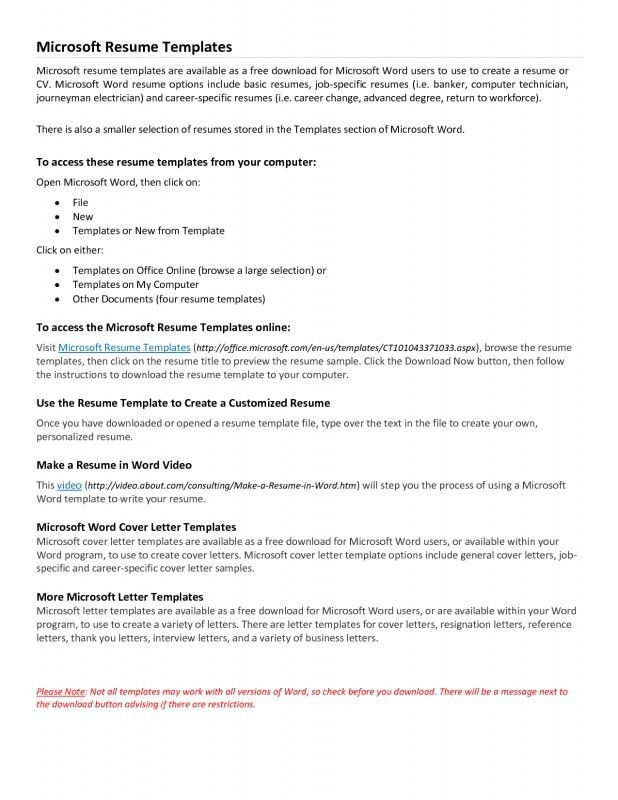 Free Downloadable Resume Templates For Microsoft Word. Microsoft ...