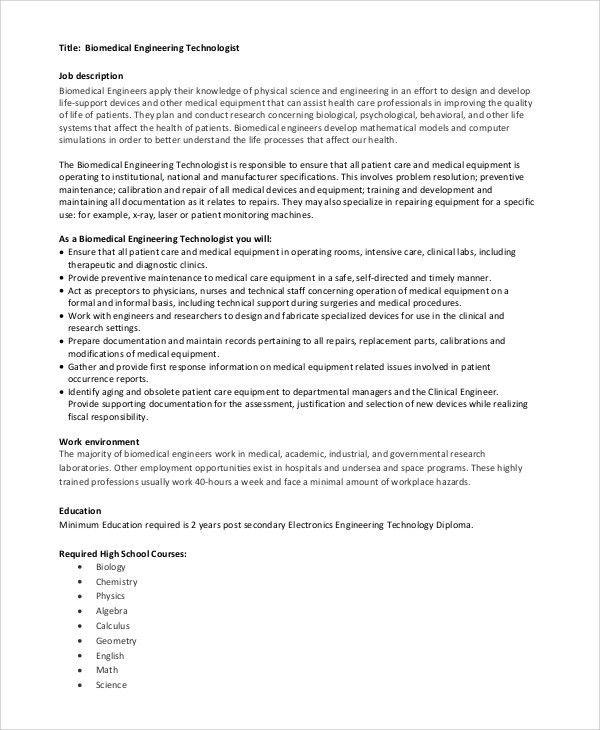 Medical Technologist Job Description. Lab Tech Job Description 12 ...
