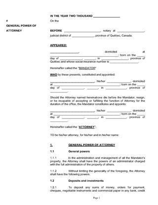 Quebec Power of Attorney Forms | Legal Forms and Business ...