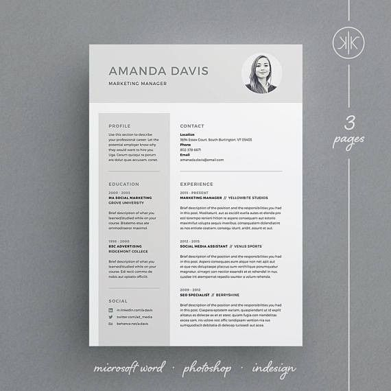 Amanda Resume/CV Template Word Photoshop InDesign | Resume ...