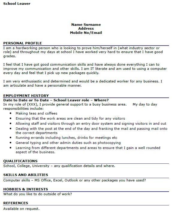 School Leaver Resume | free excel templates