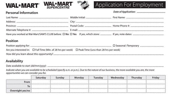 Top Job Applications - Printable Job Employment Forms