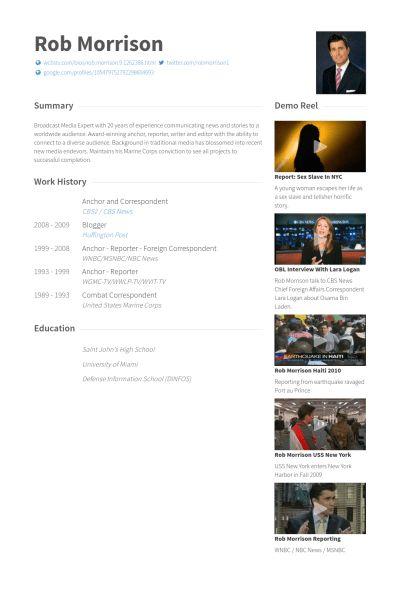 Correspondent CV Örneği - VisualCV Özgeçmiş Örnekleri Veritabanı