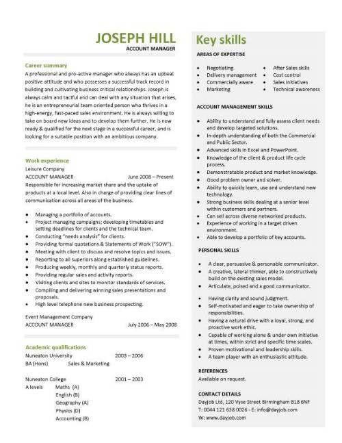 Account manager CV template, sample, job description, resume ...