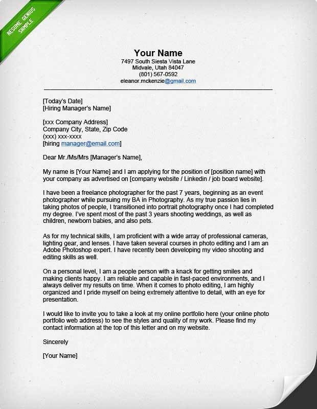 Professional Photographer Cover Letter | Resume Genius
