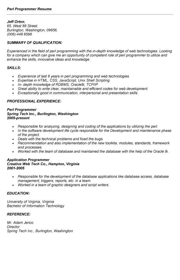 perl programmer resume web developer resume sample writing tips