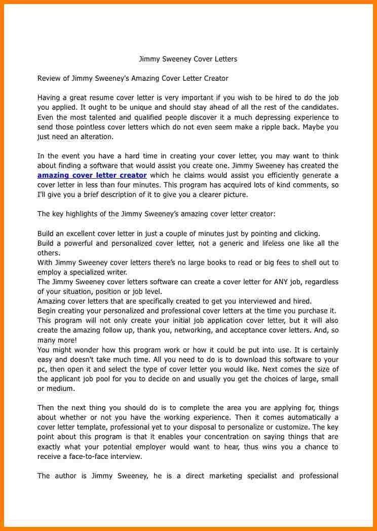 Templates Jimmy Sweeney Amazing Cover Letter Creator Review In 15 ...