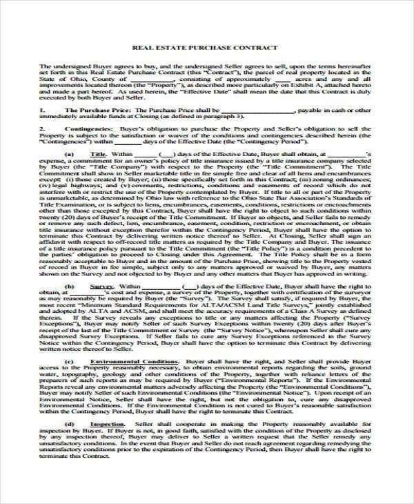 Property Sales Contract. House Sale Contract 16; 19 Sample 3 ...