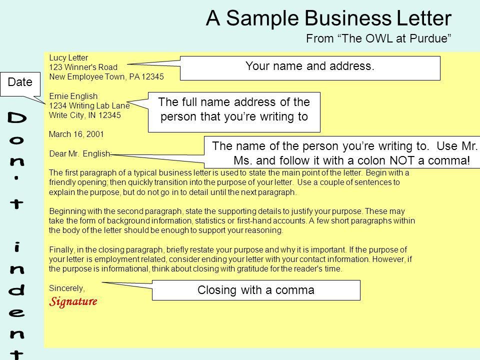 How to write a business letter. 6 Parts of a Business Letter Name ...