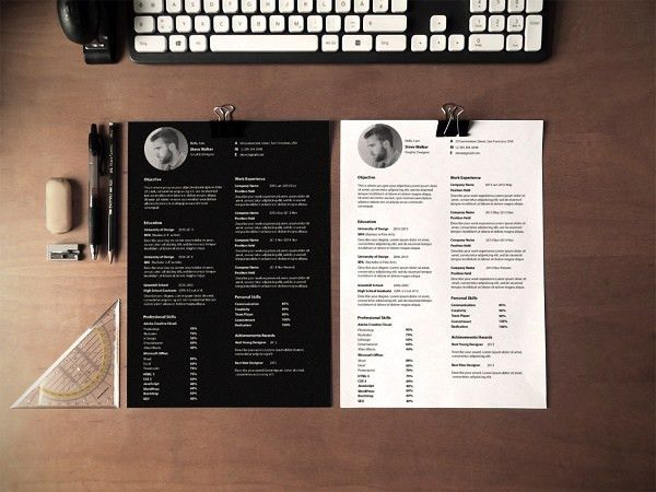 A Free Template For A Simple But Eye-Catching Résumé Featuring ...