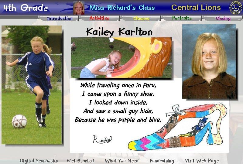 Yearbook Interactive: YBI K-6 CD Page Examples