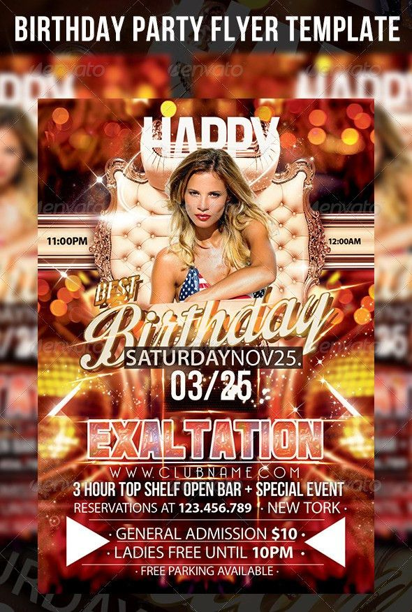 Birthday Party Flyer Template | Party flyer, Flyer template and ...