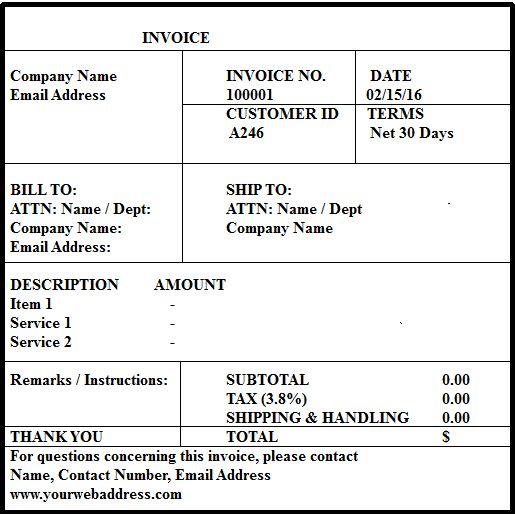 Free invoice Format in Excel | Word & PDF Templates | Daily Roabox