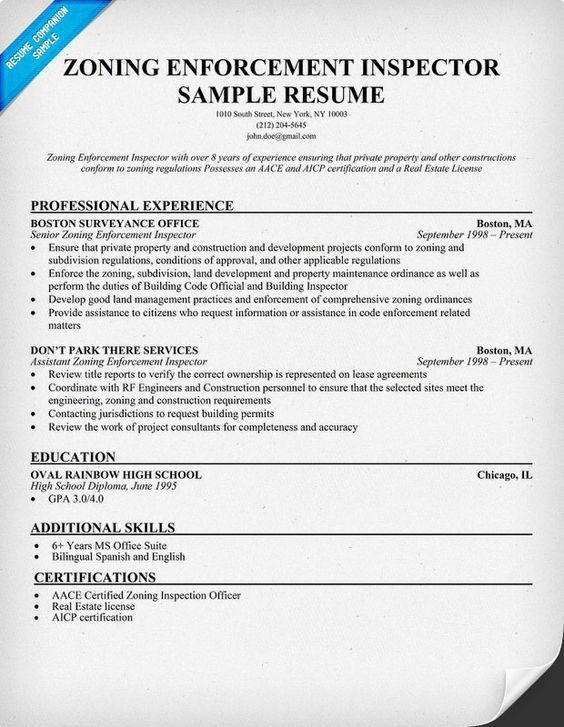 sample zoning enforcement inspector resume basic zoning