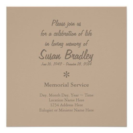 Elegant & Modern Celebration of Life Invitation | Projects to Try ...