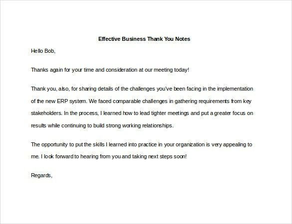 Beautiful 7+ Business Thank You Notes   Free Sample, Example, Format .