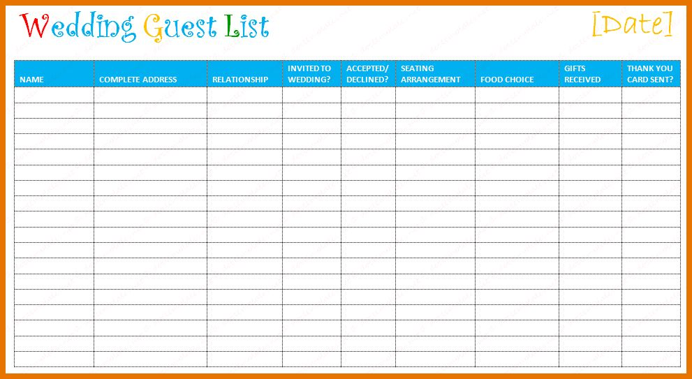 5+ wedding guest list organizer | Itinerary Template Sample