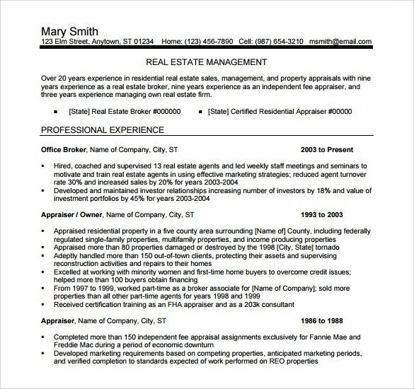real estate manager resume real estate resume samples visualcv
