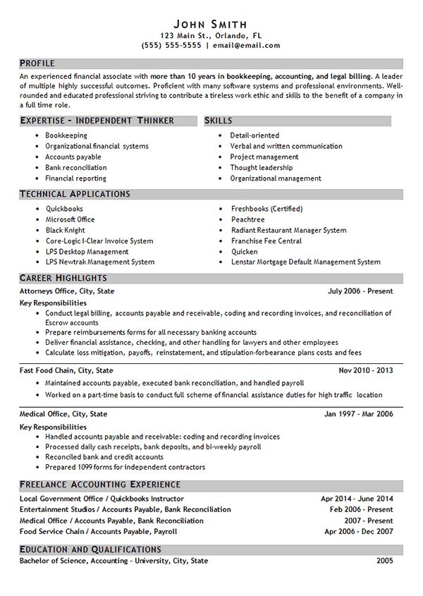 Stupendous Bookkeeping Resume 9 Freelance Bookkeeper Sample ...