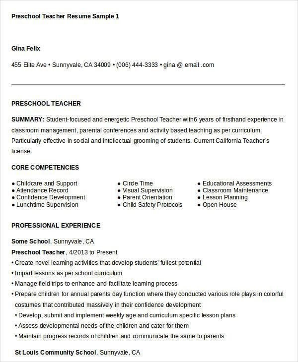 professional teacher resumes