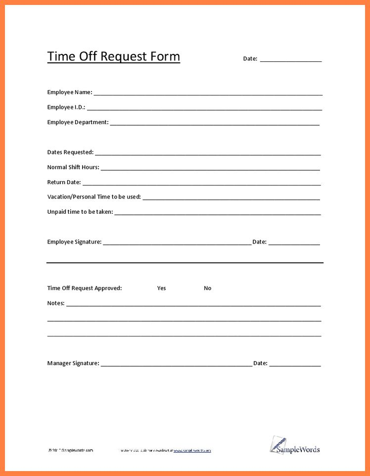 10+ holiday request form template | Bussines Proposal 2017
