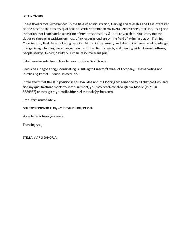 8 years experienced in admin training-telesales cover letter 2-stella…
