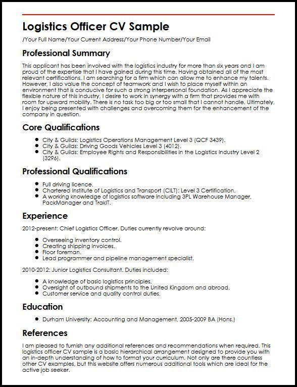 Logistics Officer CV Sample | MyperfectCV