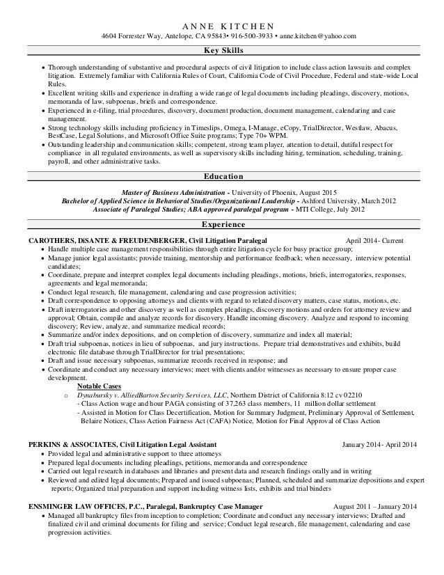 Paralegal Resume 2016