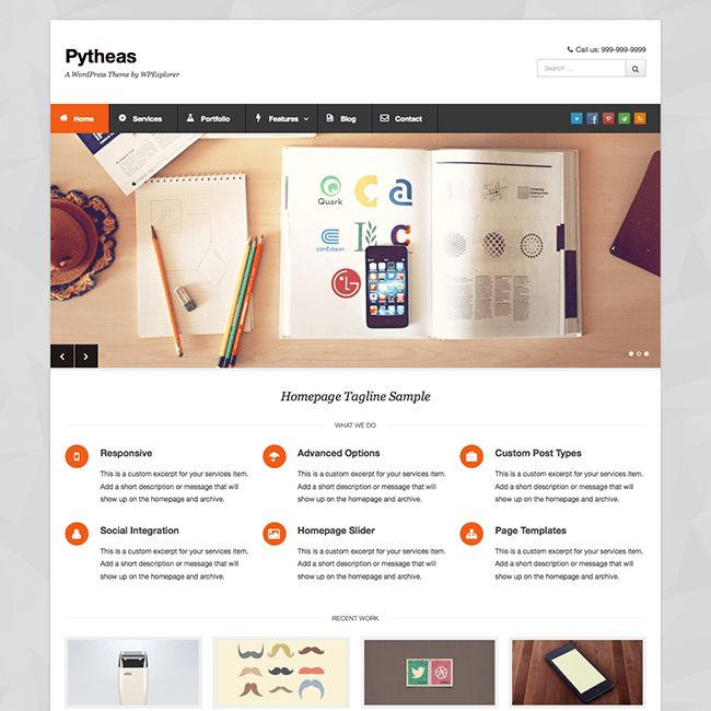Pytheas Free Responsive Corporate/Portfolio WordPress Theme ...