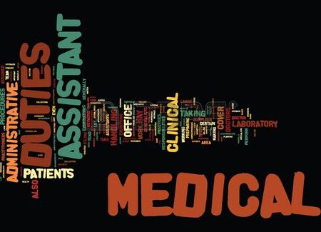 MEDICAL ASSISTANT DUTIES Text Background Word Cloud Concept ...