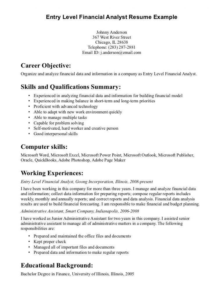 Impressive Resume Objective Entry Level 2 Objective For Finance ...