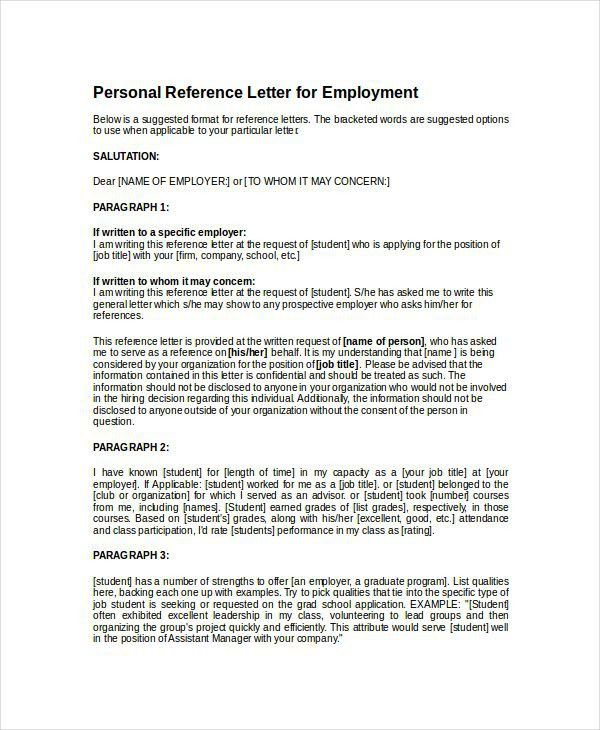 Sample Personal Reference Letter | Best Business Template