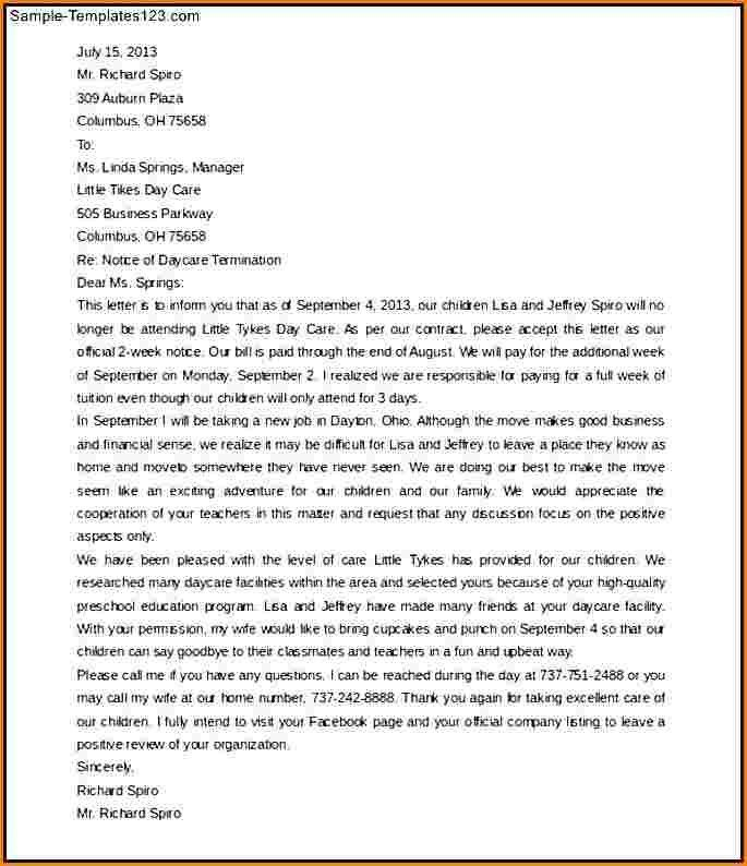 4+ daycare termination letter | worker resume