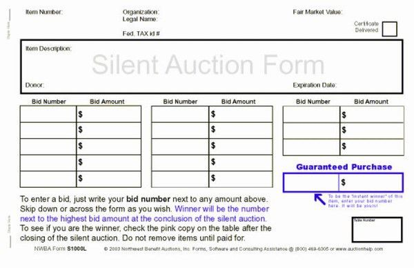 Northwest Benefit Auctions - Silent Auction Forms