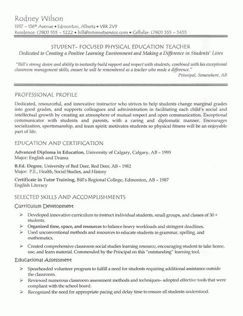 Teacher Resume Example