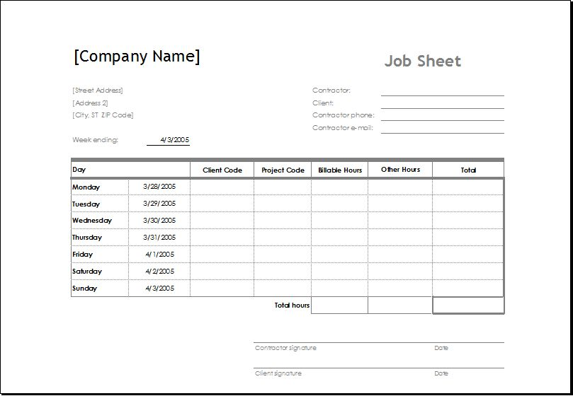Sample Job Sheet Template for MS EXCEL | Excel Templates