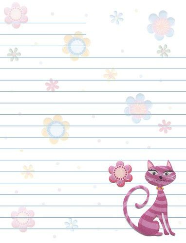 Cats Flowers Lined Stationery | Free printable, Stationery and ...