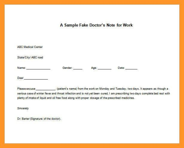 Work Excuses Template. doctors excuse for work template excuse for ...