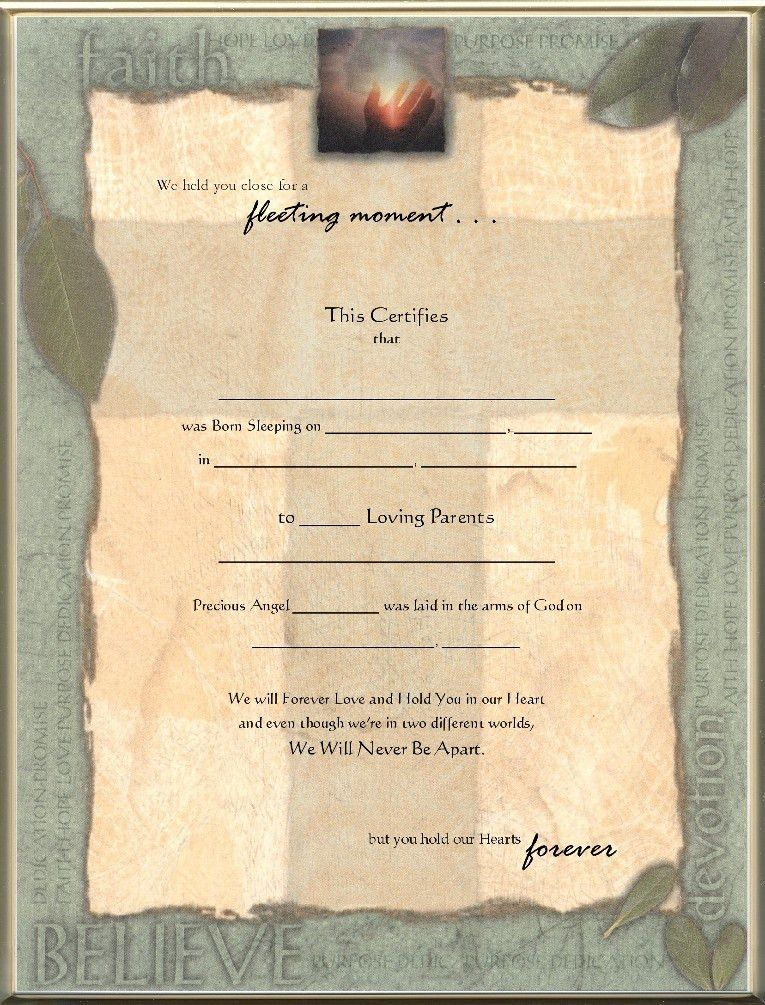 Keepsake Stillborn Birth 8.5 x 11 inch Certificate - Faith Blank ...