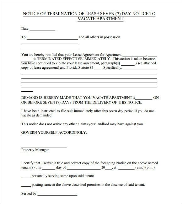 printable 30 day notice to vacate editable blank. 7 ending lease ...
