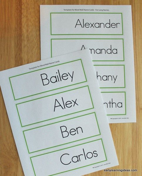 Name Cards: Make Name Cards for Your Word Wall - Early Learning Ideas