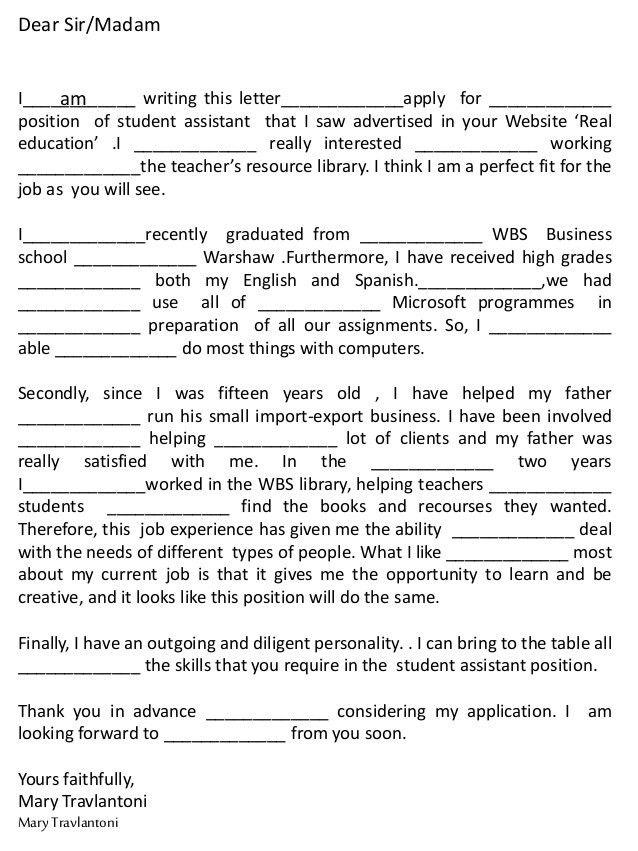 Cover letter job dear sir madam