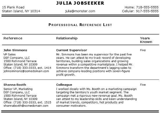 resume include references