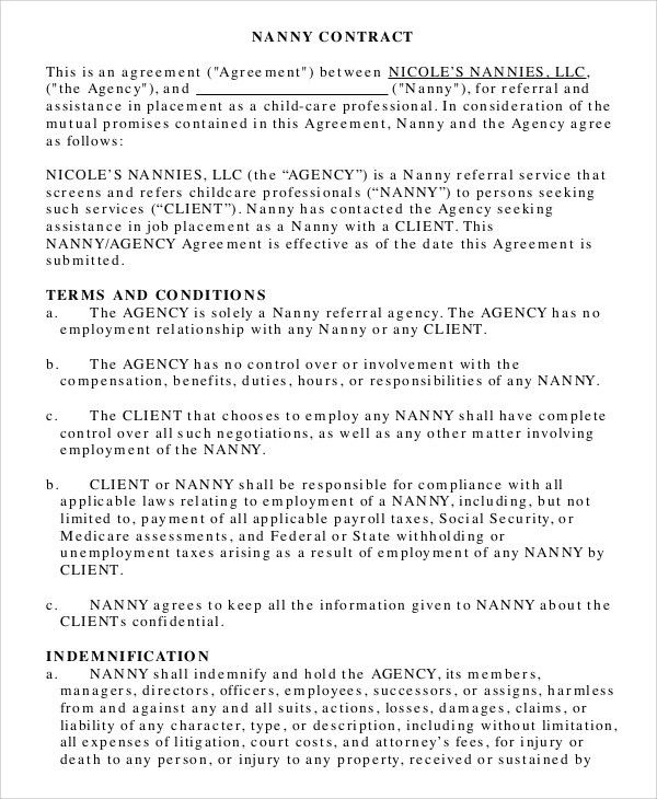 Nanny Contracts. General Contract Agreement Template - Business ...