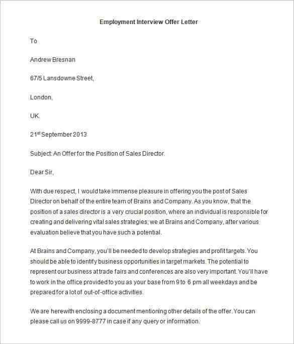 Offer Letter Template - 50+ Free Word, PDF Format   Free & Premium ...