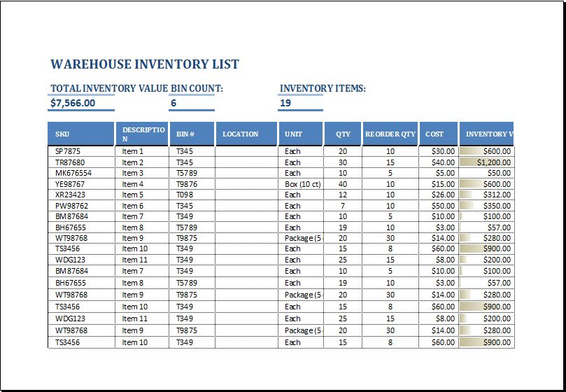 Warehouse Inventory List Template EXCEL | Word & Excel Templates