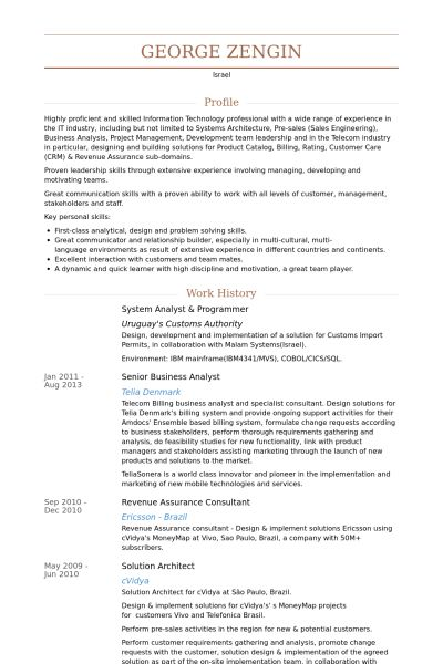 System Analyst Resume samples - VisualCV resume samples database